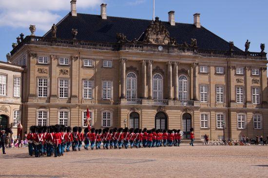 A parade of the Royal Guard at Amalienborg Palace