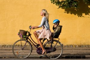Mother and daughter cycling in Copenhagen