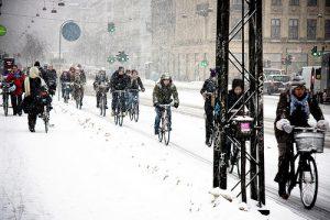 Cycling in the snow through Copenhagen