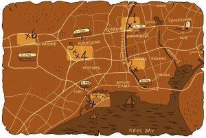 Copenhagen's Forgotten Giants Treasure Map (click to enlarge)